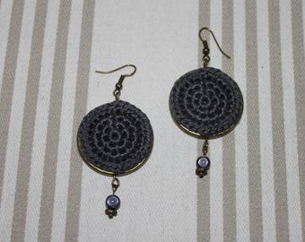 Dark gray cotton and antique bronze hook earrings