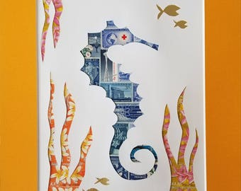 Postage Stamp Collage - Sea Horse