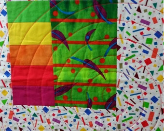 RAINBOW GEOMETRICS, baby quilt, handmade, colorful symbols, lightweight but quilt warm