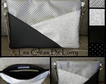 Silver and black faux leather shoulder bag