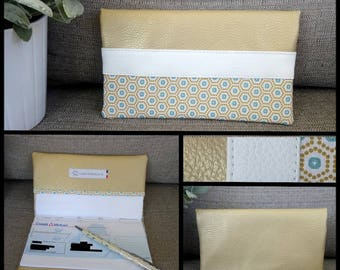 Checkbook gold leatherette white turquoise