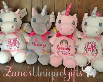 Personalised Unicorn Teddy Bear,Embroidered Teddy,Custom Bears,Embroidered with any text,Birthday/New baby/Christening Gifts
