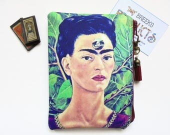 Mum gifts, Frida Khalo, mexican, self portrait, sewing pouch, zipper wallet, cometic bag, zipper wallet, small storage bag.
