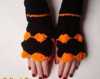Black and orange crochet fingerless mittens