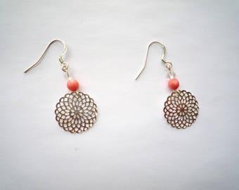 Pinwheel - rock crystal & coral Silver earrings