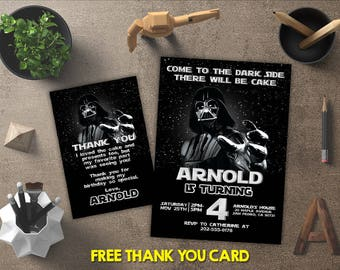 Star Wars Birthday Invitation, Star Wars Invitation, Star Wars Invites, Star Wars Party Printables, Star Wars Theme, FREE 4x6 Thank You Card