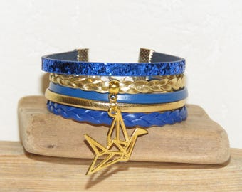 "Cuff Bracelet, multi-row, blue, gold, leather, suede studded, glitter, bird, ""Bird ORIGAMI"" women bracelet,"