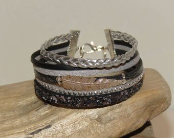 """""""Silver feather"""" Cuff Bracelet leather, glitter leather, suede, grey, black and Silver - gift idea"""