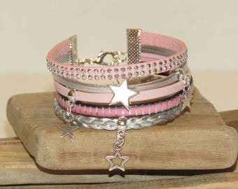 """""""Sweet stars"""" Cuff Bracelet leather, suede, pink color pastel and silver"""