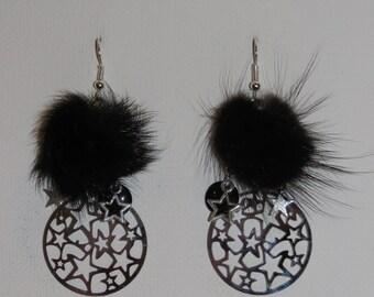 """Earrings, black fur Pompom, Star, """"earrings Poumpoumpidou"""" prints Pimprenellecreations"""