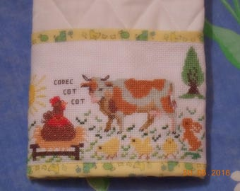 Hand embroidered health book, the chicken and cow compete... rabbit plays the referee!