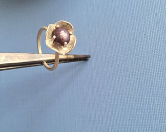 Purple Star Sapphire Flower Fancy Poppy Ring