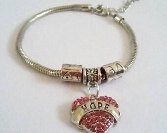 Hope Pink Gem Charm Bracelet