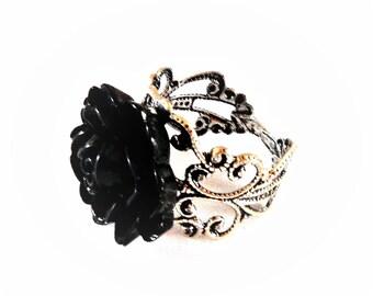 Pink black silver ring