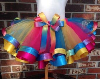Multi Colored Tutu +Bow, Rainbow Tutu +Bow