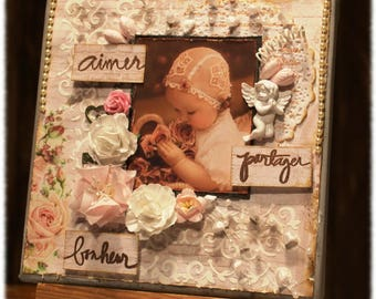 "Frame on canvas pink and white Shabby Chic ""Love - share - happiness"""