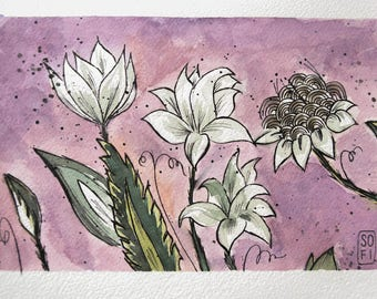 BOTANICAL GARDEN Illustration with watercolor and Ink
