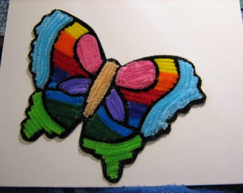 Butterfly multicolored picture in chenille yarn