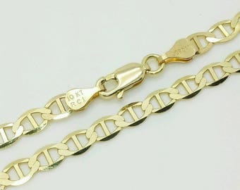 "10k Solid Yellow Gold Mariner Anchor Bracelet Chain 8"" 4.5mm"