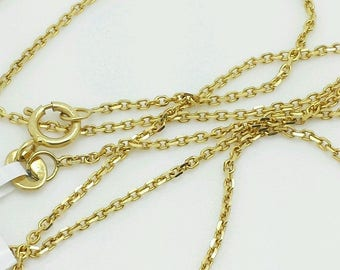 "14k Solid Yellow Gold High Polish Cable Link Pendant Necklace Chain 13""-24"" 1.1mm"