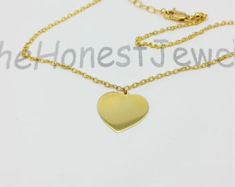 14k Solid yellow gold Adjustable Cable Chain Engravable Heart personalized gift girlfriend friend