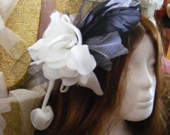 Black and white teardrop fascinator