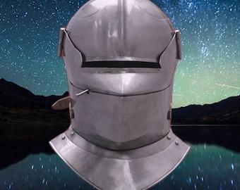 SCA LARP Medieval Knight Close Helmet W/Gorget