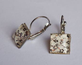 Dangle square earrings black gray Brown Japanese motifs