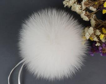 Fur pom pom, Fox Fur Pom pom, Real fur pom pom, Fur pom pom hat, Large Pom Pom,  Fox pom pom, Fur ball, White pom pom.
