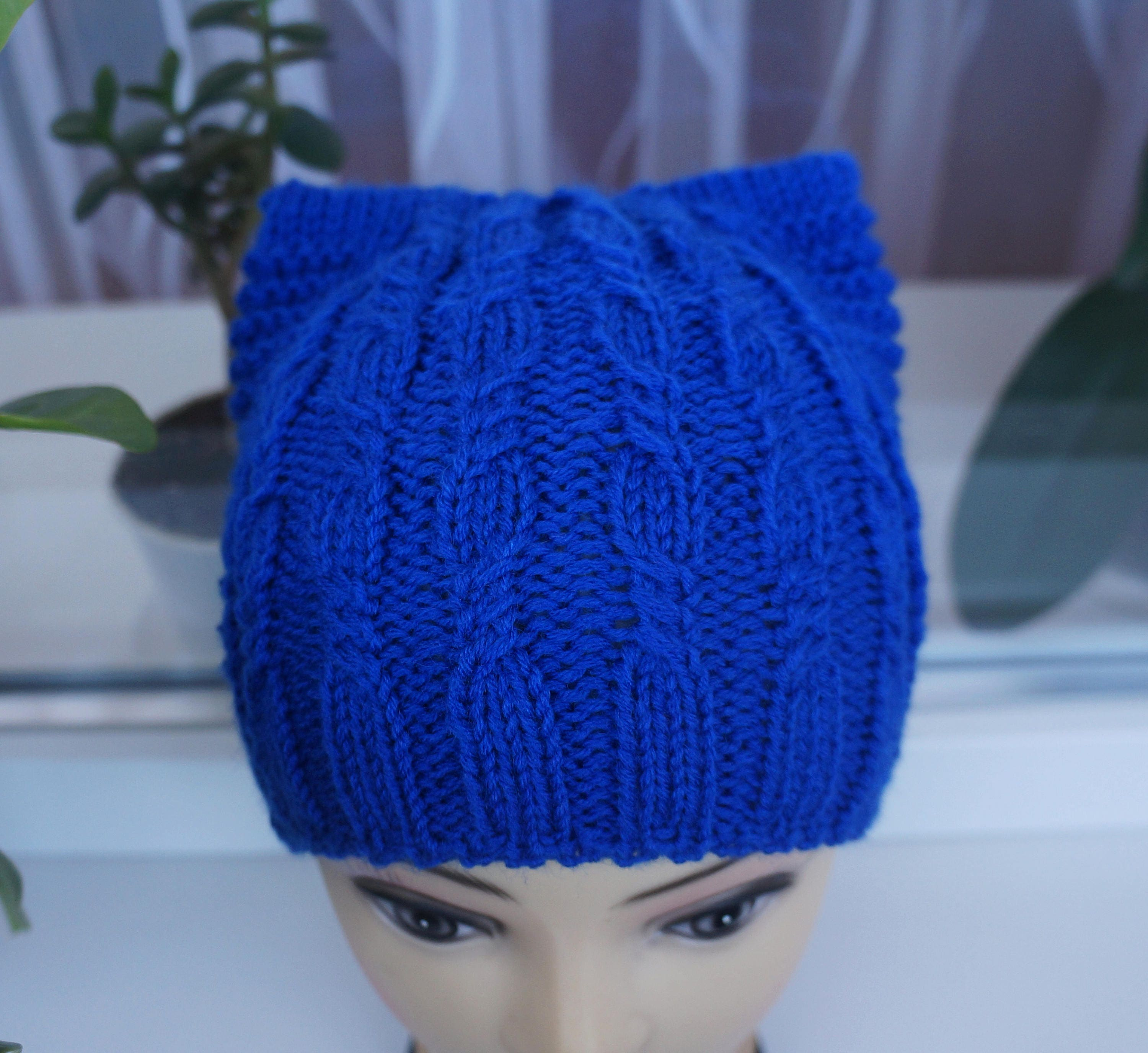 ca08d994aed Cat hat Knit hat Pussy hat Ear hat Blue Cat Hat Cat beanie Seamless knitted  hat