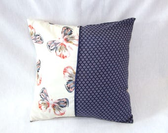 housse de coussin 40 x 40 cm, taie d'oreiller, patchwork de tissus bleu nuit à motifs et blanc à papillons, passepoil