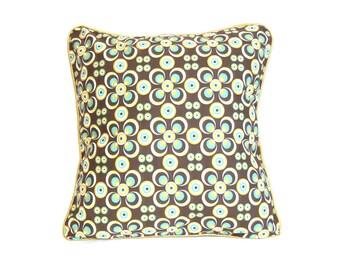 Housse de coussin 40 x 40 cm, taie d'oreiller, vert, jaune, tissus africain wax, vintage, disco, motifs géométriques ronds