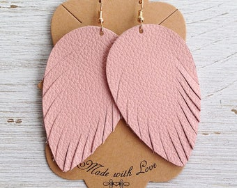 Pink Leather Feather Earrings, Leather Earrings, Feather Earrings, Statement Earrings, Bohemian