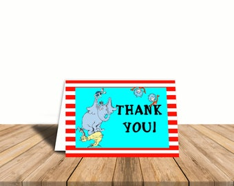 Dr. Seuss Thank You Card, Blank Inside, Automatic Digital Download, Gender Neutral