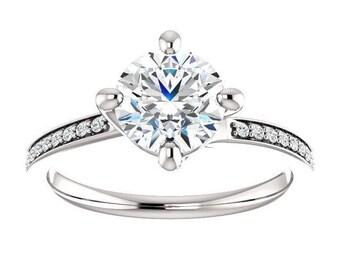 Forever One Moissanite Engagement Ring- Penelope | round | ball park moissanite solitaire engagement ring