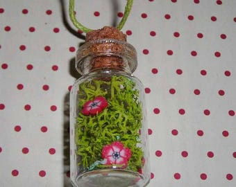 Vial necklace vegetable red flowers