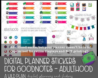 Digital Stickers for Adulthood life - Digital Planning |GoodNotes | iPad - Digital Download ONLY