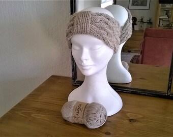 Pure hand knit Alpaca HEADBAND HEADBAND cable