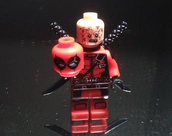 Unmasked Deadpool Wade Wilson Anti-hero Custom Minifigure Size & Compatible New
