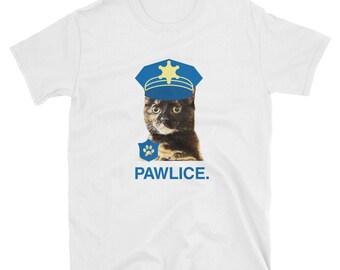 Tortie Cat: PAWLICE Police Tortoiseshell Cat T-Shirt