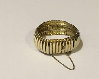 Boucher Expandable Bracelet Goldtone White Enamel Vintage Jewelry Christmas Gift