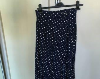 Navy blue polka dot skirt by Gor-Ray