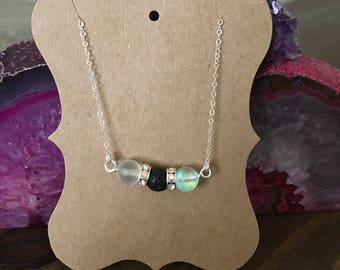 """Sterling Silver Essential Oil Diffuser Lava Bead Necklace *Glows!* 18"""" Handmade (shown with bracelet not included)"""