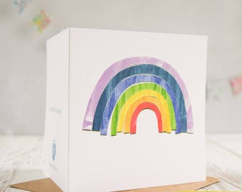 Rainbow Greetings card, note card, rainbow card.