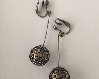Earrings mid-length bronze openwork balls