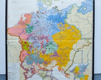 German Vintage School Wall Map Europe In The Time Of The - Germany map europe