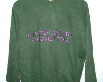 On Sale 10% Vintage United Colors of Benetton Embroided Spell Out // Sweatshirt / Pullover Jumper / Size 46/L / Long sleeve /