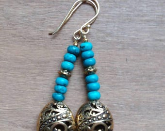 Totally Turqoise Dangle Earrings , Turqoise gemstones, Antique Gold, Dangle Earrings, Bohemian Jewelry