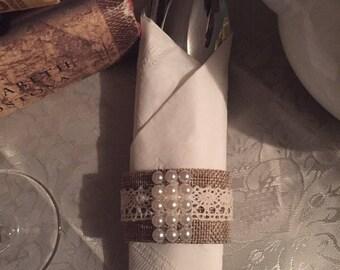 Burlap Handmade Napkin Rings