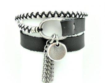 Leather wrap bracelet, Black leather, Black wrap bracelet, Black bracelet, Modern bracelet, Women bracelet, Gift under 50, Gift for her